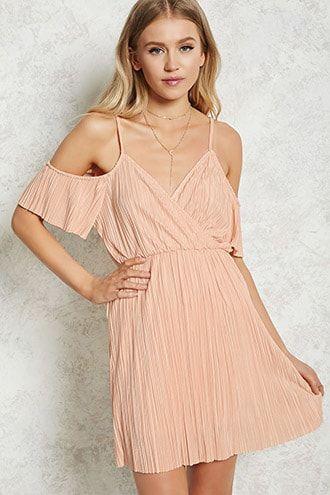 pleated open shoulder dress