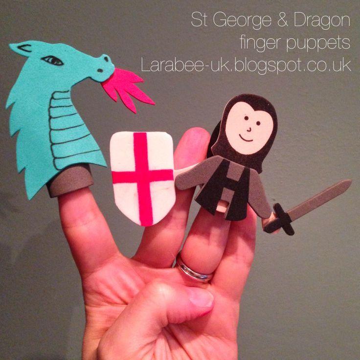 Larabee: |FAMILY|friday fun - St Geroge & Dragon finger puppets