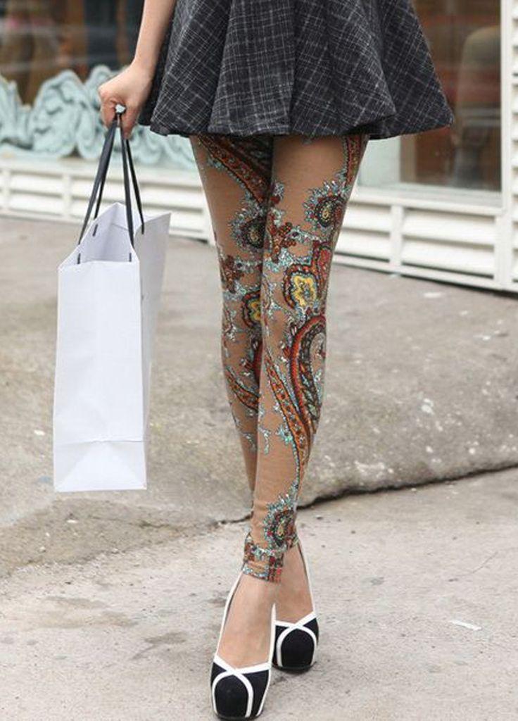 Retro Style Totem Pattern Color Block Narrow Feet Skinny Leggings For Women