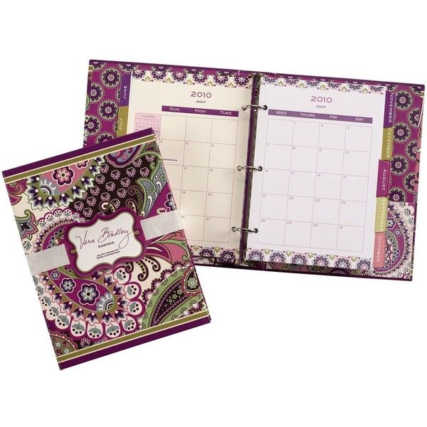 Vera Bradley 2011 Agenda in Very Berry Paisley ($8) ❤ liked on Polyvore featuring home, home decor, stationery and sale