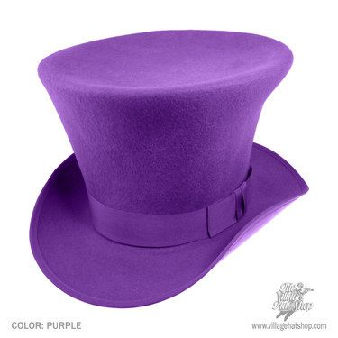 MADE IN THE USA. The topper for those most mad about hats. This style was made popular by the Disney animated movie, Alice in Wonderland, worn by the March Hare's pal, The Mad Hatter.  The crown is 7 1/2 inches high and dramatically flared out. Color: Purple. Sizes: 6 7/8 to 7 7/8.