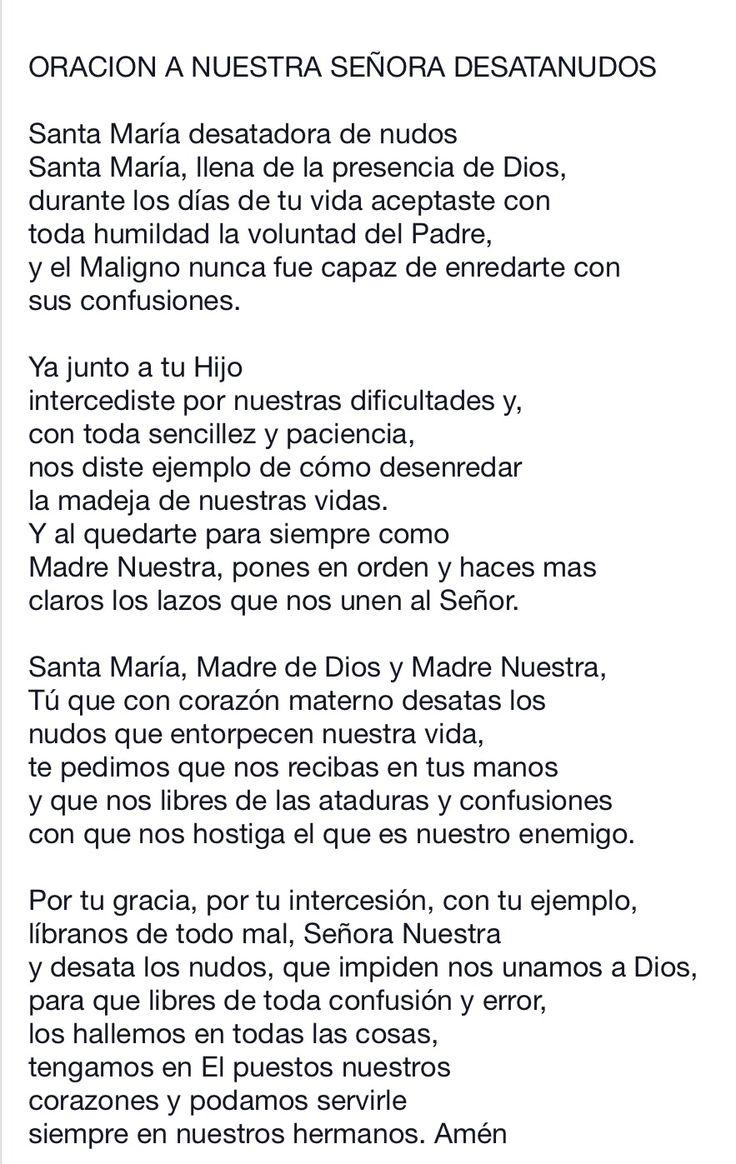 Oración para la Virgen Desatanudos...