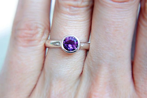 Amethyst Ring Purple Engagement Ring Solitaire by ManariDesign