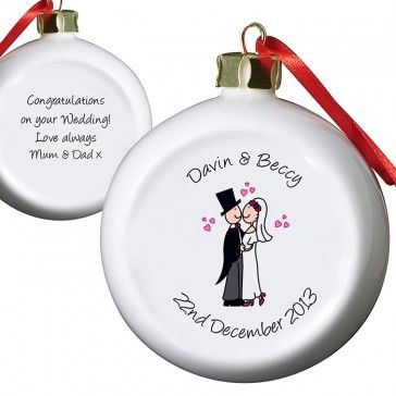 Just married bauble http://www.personalise.co.uk/just-married-wedding-bauble
