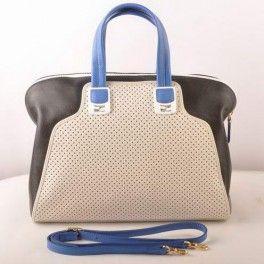 Fendi Chameleon Punch Saffiiano Leather Top Zip Tote Bag 2537 White-Black