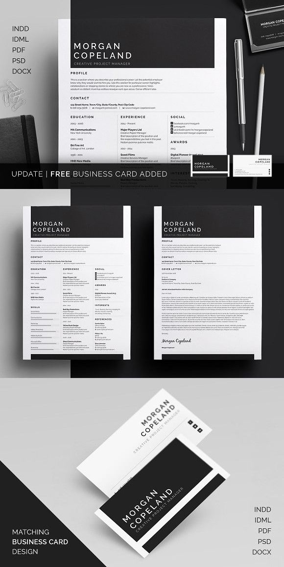 Resume/CV - Morgan. Creative Business Card Templates