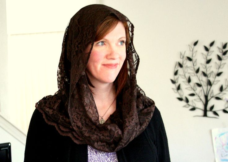 Wearing a chapel veil, another good article.  And I need to get a veil like that.   @K Williams