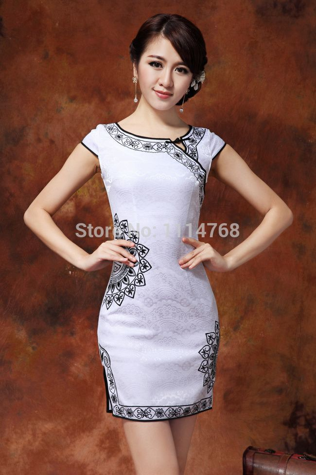 Promotion modern cheongsam dress embroidery qipao cotton casual cheongsam white chinese traditional female Tang Suit S XL-inCheongsams from Novelty & Special Use on Aliexpress.com | Alibaba Group