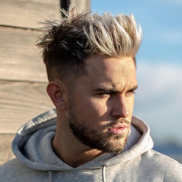 Brush Up Top With Mid Fade Mens Hairstyles Men Blonde Hair Cool Blonde Hair