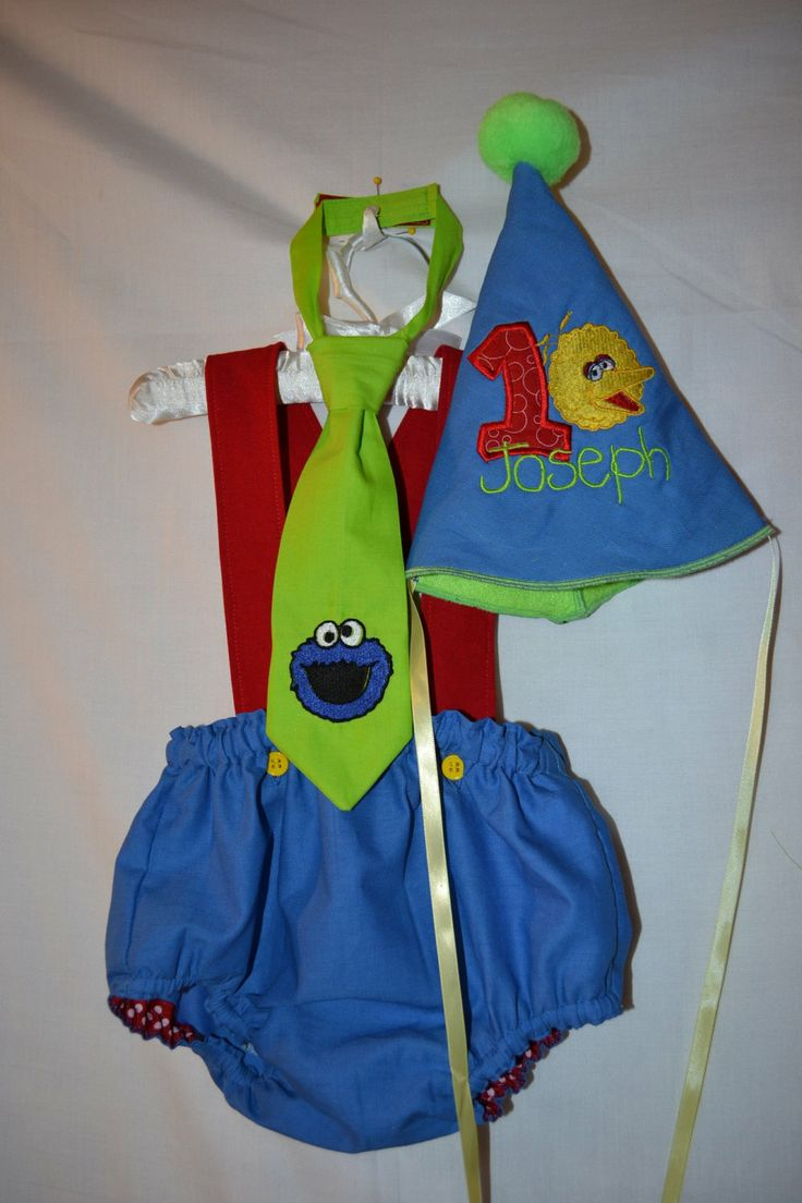Baby Boy Sesame Street 1st Birthday Smash Cake Outfit Hat