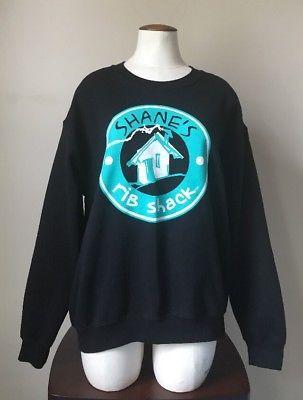 Womens Shanes Rib Shack Crew Uniform BBQ Restaurant Black Sweatshirt Size M