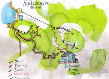 Map of Spitzingsee, Bavarian Alpes, hand made. Made by Isabelle Dinter