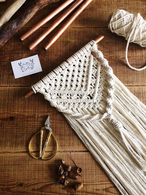 Macrame wall hanging macrame nursery wedding wall hanging with knitting needle