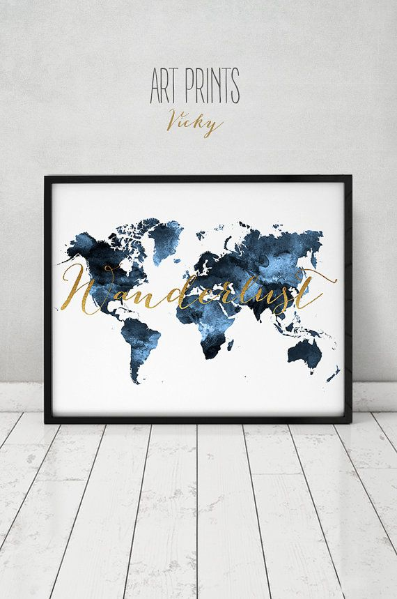 Wanderlust, World map print, travel map, World map art, Travel map, Large world map, watercolor, blue world map, map decor, ArtPrintsVicky – Printables