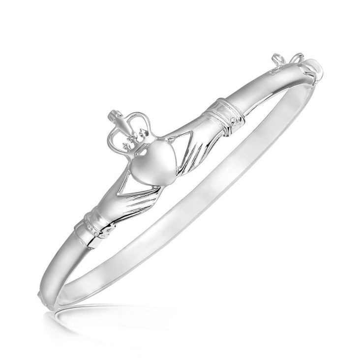 Sterling Silver Claddagh Style Thin Bangle with Rhodium Plating - mewe-accessories.com