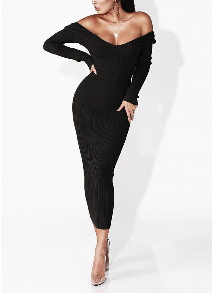c2555bce4d4 Sexy Women Deep V Neck Off-the-Shoulder Long Sleeve Solid Ribbed Slim Midi Bodycon  Dress