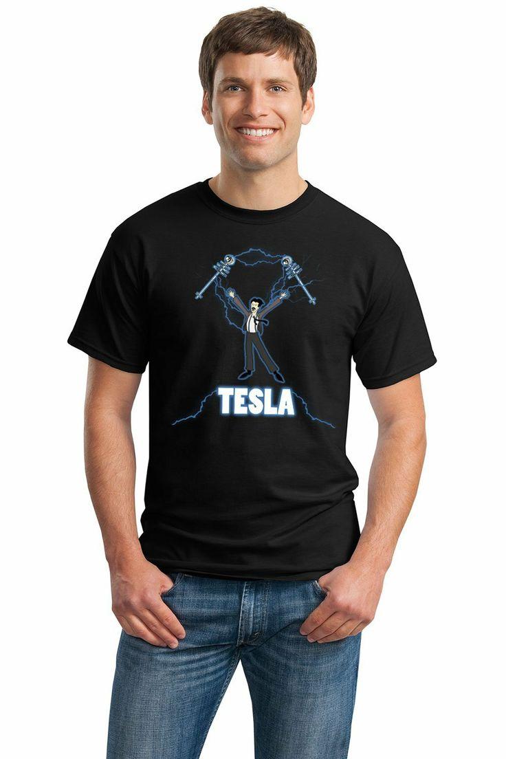 NIKOLA TESLA COIL Adult Unisex T-shirt / Nerdy, Geeky, Engineer Funny Science Tee