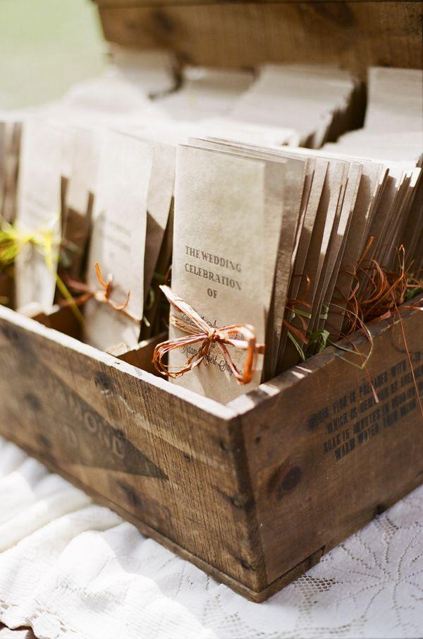 @Danielle Lampert Lampert Lampert Lampert Lampert Sligar  - wedding ceremony program ideas - very barn themed!!