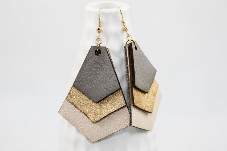 Leather Earrings - Geometric Layers (Gray & Gold) by OnceAgainSam on Etsy https://www.etsy.com/listing/129019450/leather-earrings-geometric-layers-gray