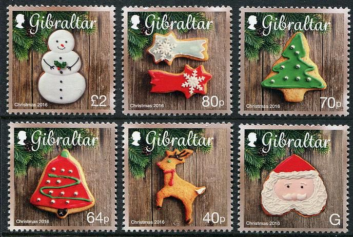 gibraltar stamps sc new issue christmas 2016 cookies