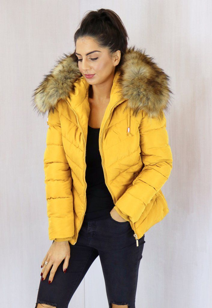 Holly Quilted Short Hooded Puffer Anorak Coat with Natural Fur Trim in Mustard Yellow