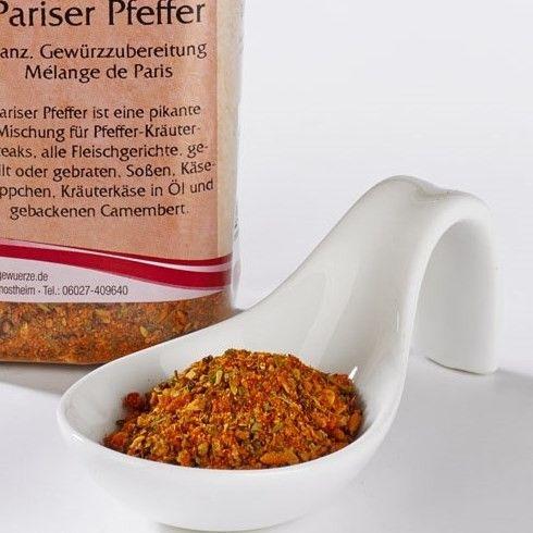 Französische pikante Gewürzzubereitung für Pfeffer-Kräuter-Steaks, alle Fleischgerichte, gegrillt oder gebraten, Soßen, Käsehäppchen, Kräuterkäse in Öl und gebackenen Camembert.