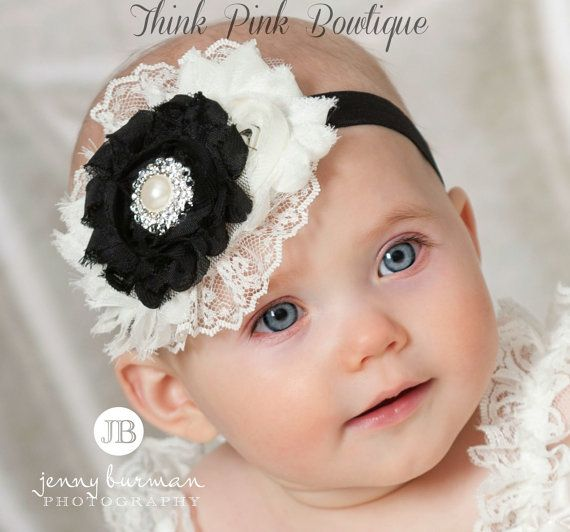Inspiration.  Baby Headband, Christmas Headband, Black and Ivoy baby headband,baby Headbands, Newborn Headband,Girls Headband,Shabby chic Headband.