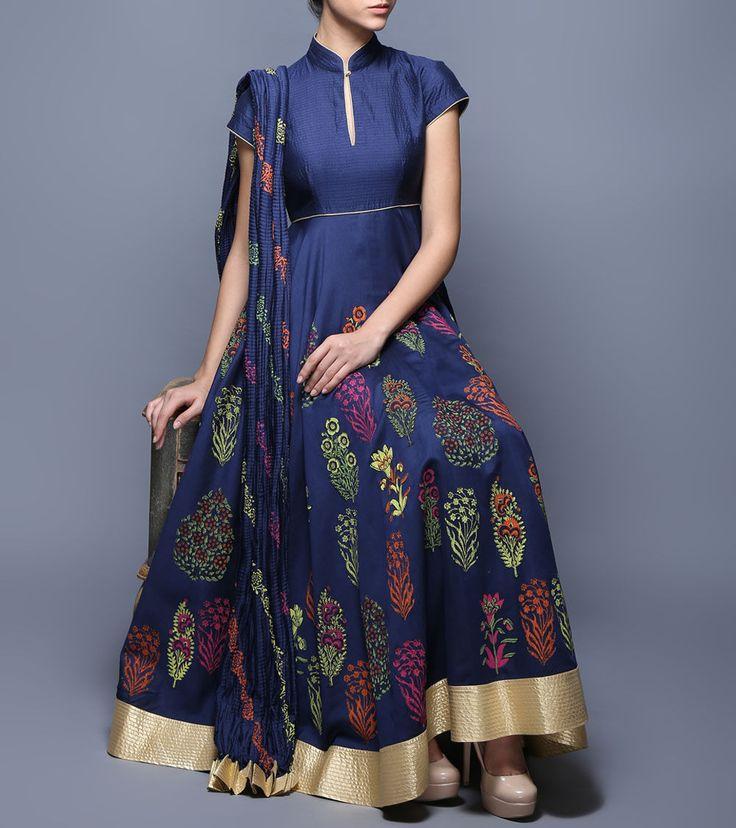 Indigo Block Printed Chanderi & Voile Anarkali Suit #Balance By #Rohit #Bal at #Indianroots