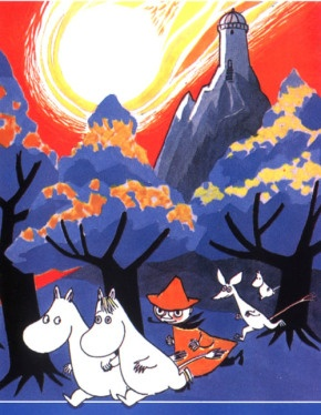 moomins running under a red sky