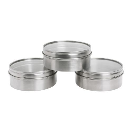 "Will be great for my magnetic spice wall!    GRUNDTAL  Container, stainless steel  $4.99 / 3 pack at IKEA !  Product dimensions-  Diameter: 3 3/4 ""  Height: 1 1/2 ""  Package quantity: 3 pack    Key features-  - Containers with magnetic back; readily clings to metal surfaces.  - Transparent lid; allows you to see what is inside.  - Ideal for storage of spices. Clears work space on your countertop."