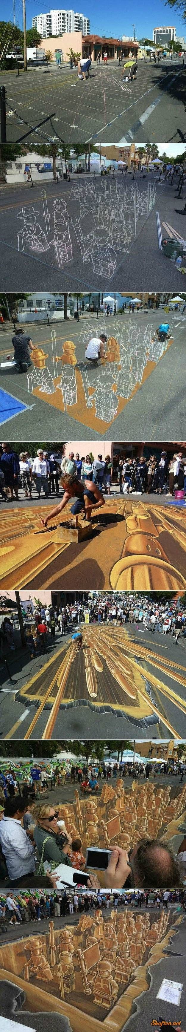 lego sidewalk drawing