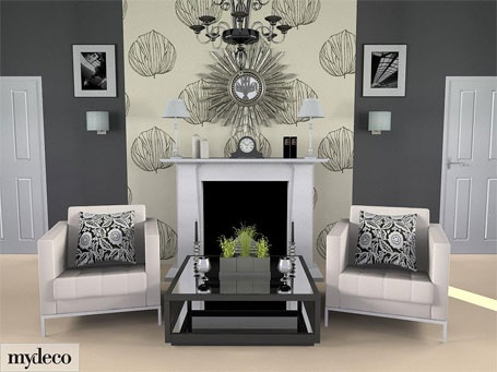 Grey Room Wallpaper Feature Wall With White Fireplace