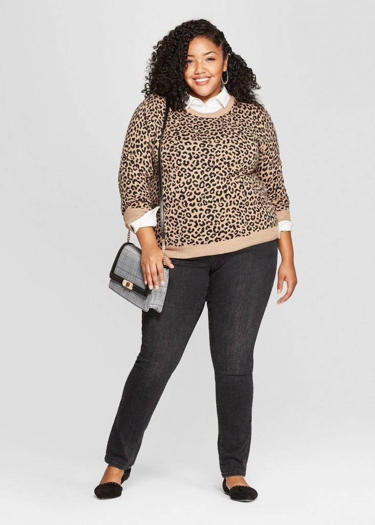 162643eabb7 Cute Plus Size Sweaters for Fall- A New Day Plus Size Leopard Print  Pullover Sweater