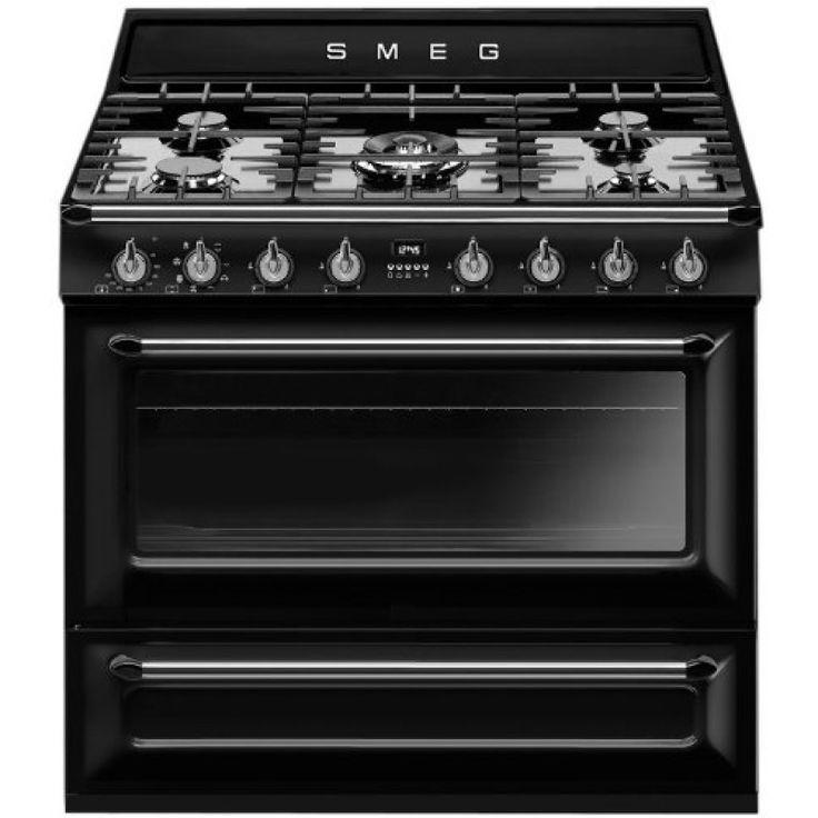 $4299   Smeg 90cm 126L Dual Fuel Freestanding Oven/Stove TRA90BL