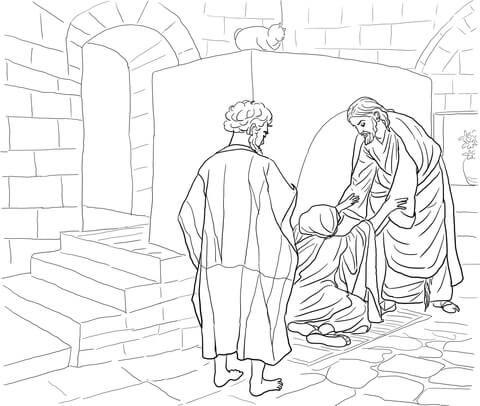 jesus healing peter's mother in law coloring page | christian coloring, jesus heals, coloring pages