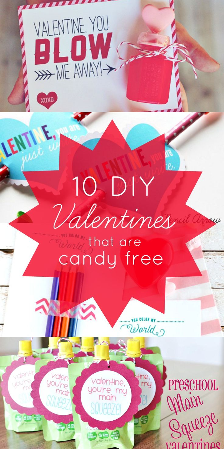 10 DIY Valentine ideas that are candy free - we love these candy free Valentine's day ideas and Valentine cards without candy!
