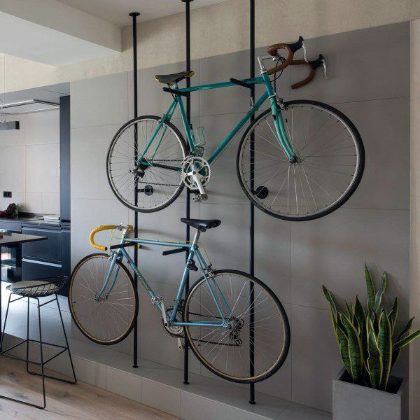 Top 70 Best Bike Storage Ideas - Bicycle Organization Designs From overhead to on the wall and beyond, discover the top 70 best bike storage ideas. Explore unique and creative bicycle organization designs. Bike Storage Design, Bike Storage Home, Bike Storage Apartment, Indoor Bike Storage, Bike Storage Rack, Bike Design, Diy Storage, Storage Ideas, Garage Design