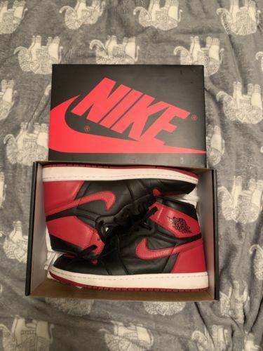f1cf8f3df49c Details about Nike Air Jordan 1 Bred Banned 2016 High OG Black Red ...