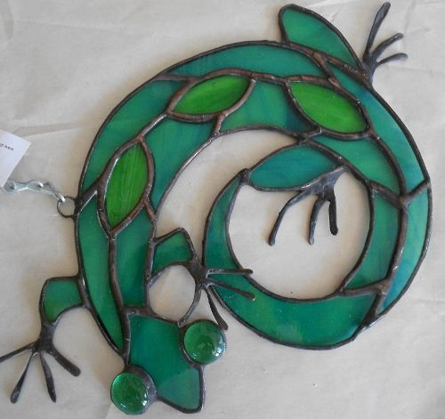 Southwest Lizzard- Stained Glass Suncatcher | Designs-in-Stained-Glass - Glass on ArtFire
