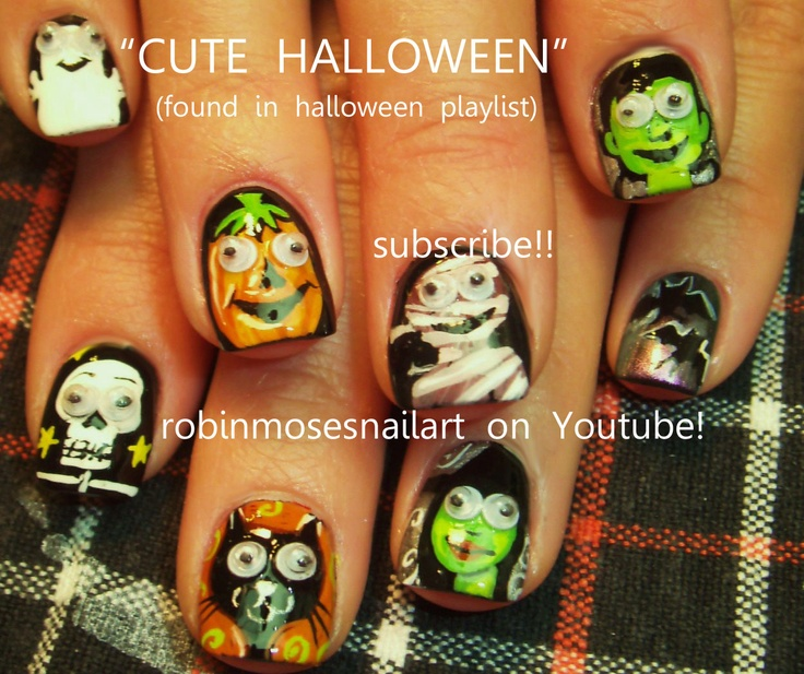 166 best halloween nail art pictures with tutorials images on nail art by robin moses 10 different fingers http prinsesfo Gallery