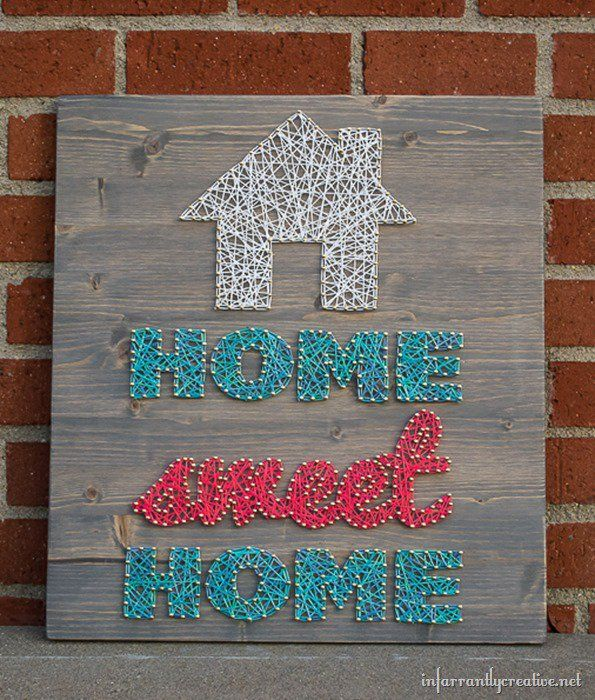 DIY String Art -- Home Sweet Home | Find string art instructions from @infarrantlyc
