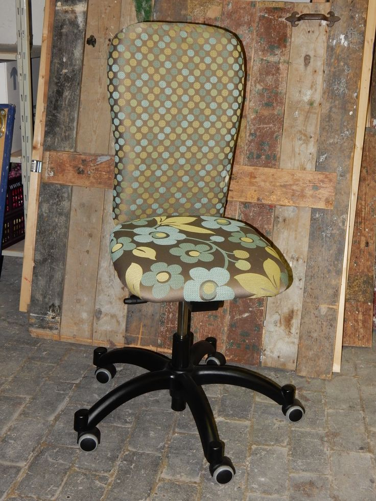Buro chair with blue and green flowers fabric