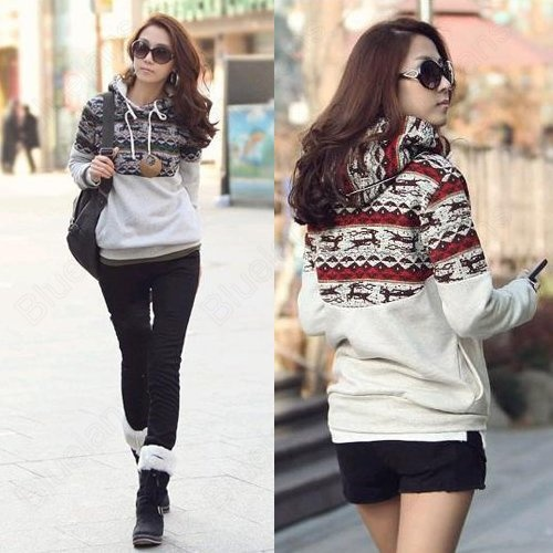 Korean Leisure Deer Hooded Fleece Hoodie Sleeve Sweater Ladies Top Coat 10% off $20.69