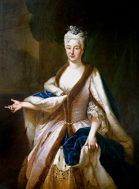 Marianna Lubomirska,c. 1725 Polish.  [What would otherwise be a rather static royal portrait is made highly dramatic by the hand gesture and the incredibly fine and detailed rendering of the textiles.  A truly beautiful painting.]