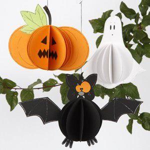 Тыква, Привидение, Летучая мышь - Игрушки мобиле, Подвески из бумаги на Хэллоуин