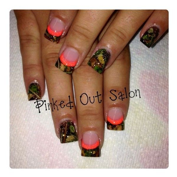 Camo Nails ❤ liked on Polyvore featuring beauty products and nail care