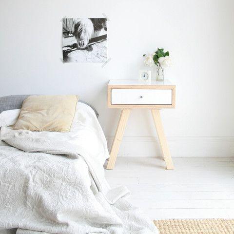 white scandi bedside table in minimalist room