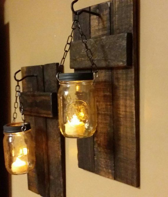 Rustikale Bauernhaus Dekor Einmachglas Kerzen Rustikale Wohnkultur Wandlampen Kerzenhalter …   – Terrace garden