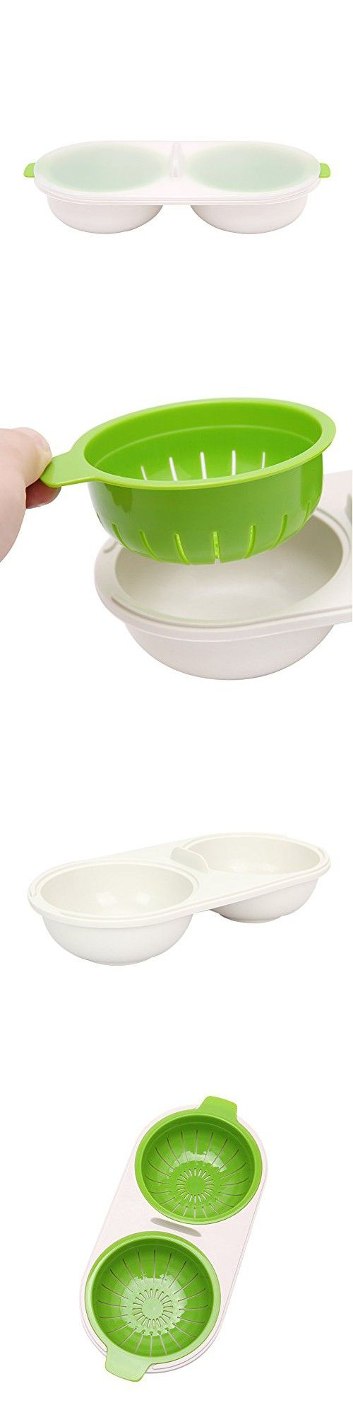 Egg Poacher, Yummy Sam 2-Cup Silicone Egg Poacher Cups Poaching Pods for Cooking Microwave Poached Eggs, Microwave or Stovetop Egg Cooker (Green)
