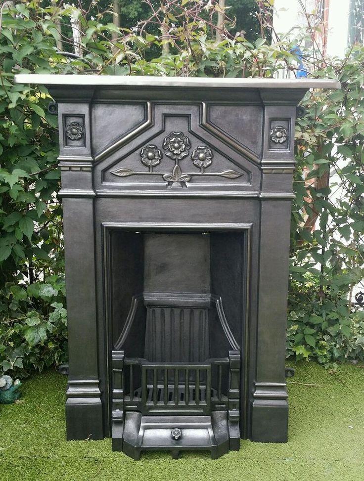 Cast iron fireplace fire back box damper Ash pan cover Fret Bars Restored grate
